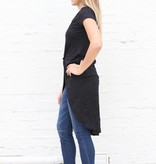 Black Knotted High Low Basic Tee