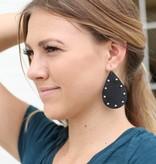 Punchy's Black Studded Leather Teardrop Earrings