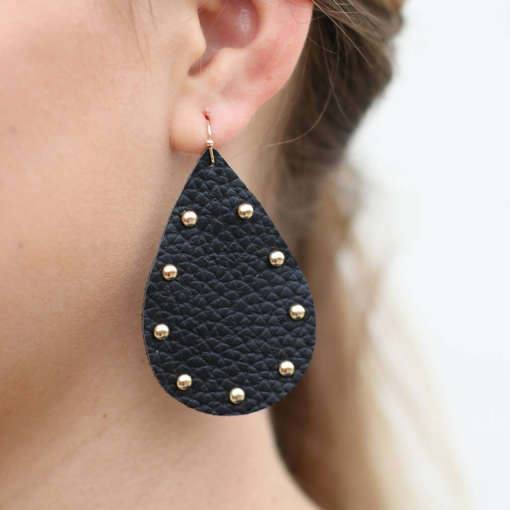 Black Studded Leather Teardrop Earrings