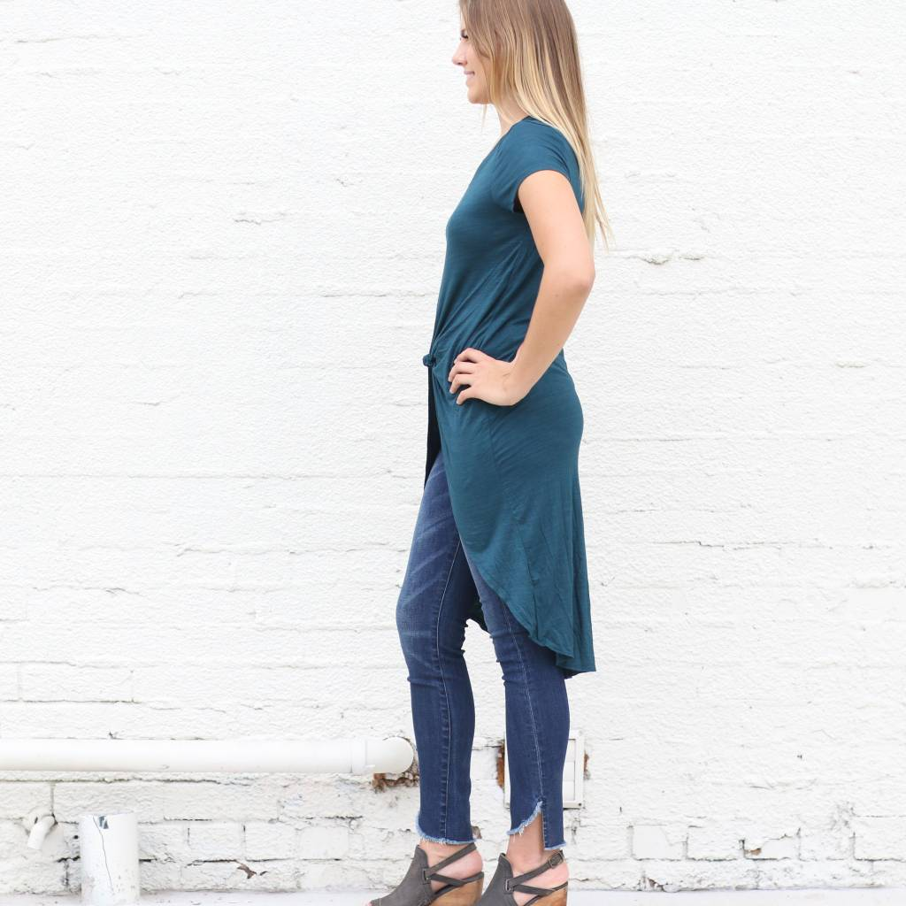Dark Green Knotted High Low Basic Tee
