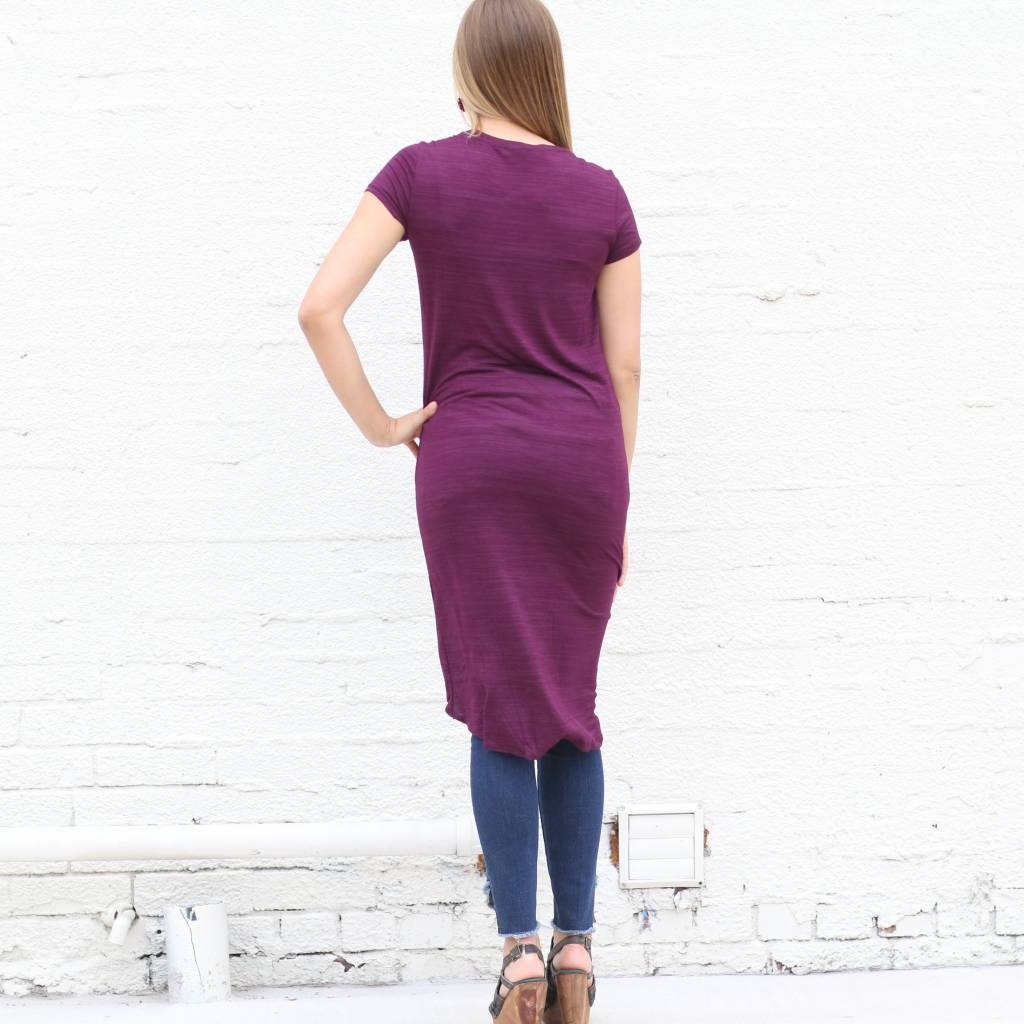 Purple Knotted High Low Basic Tee