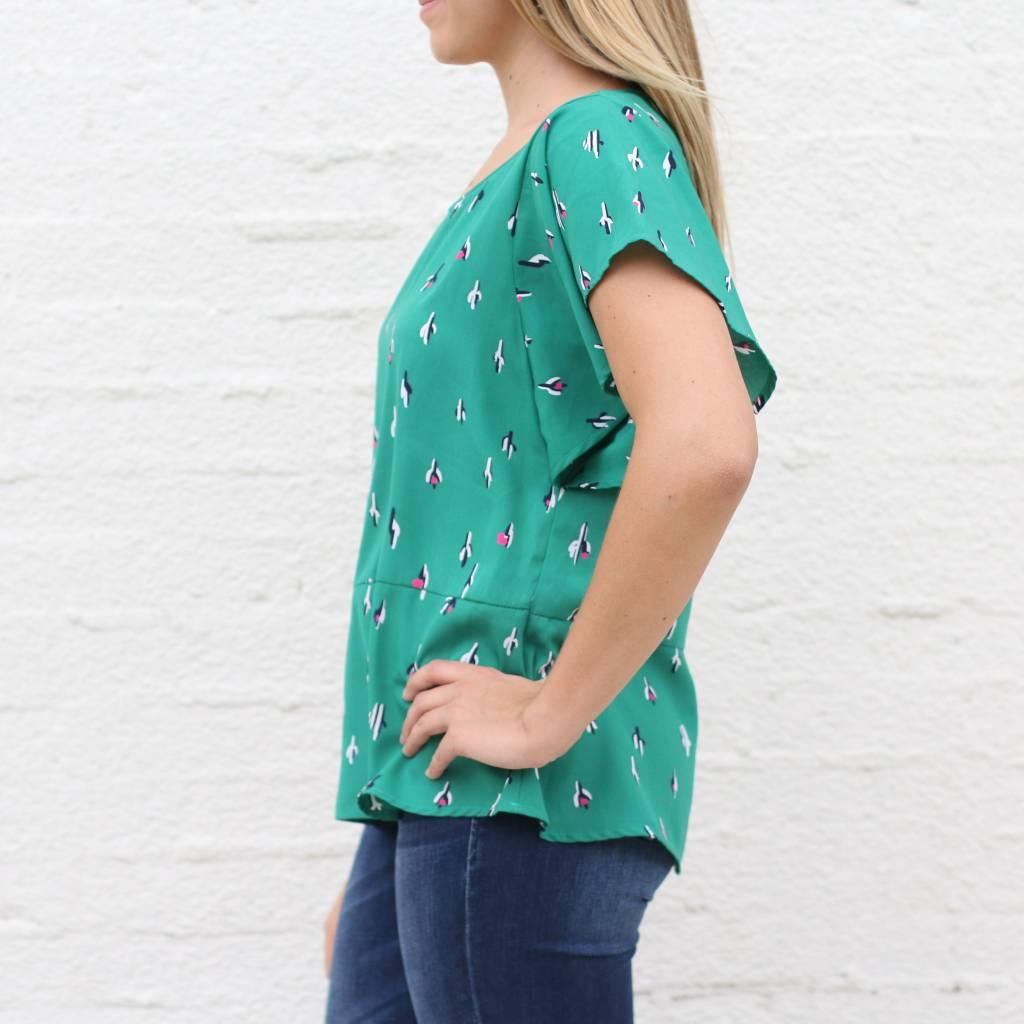 Green Cactus Flutter Sleeve Blouse