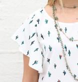 White Cactus Flutter Sleeve Blouse