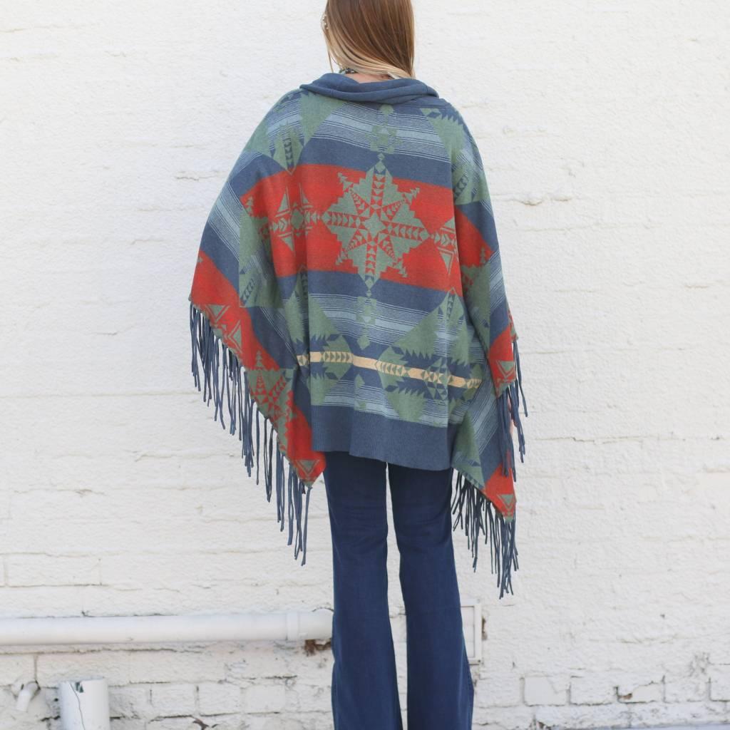 Knit Cowl Neck Adobe Fringe Poncho