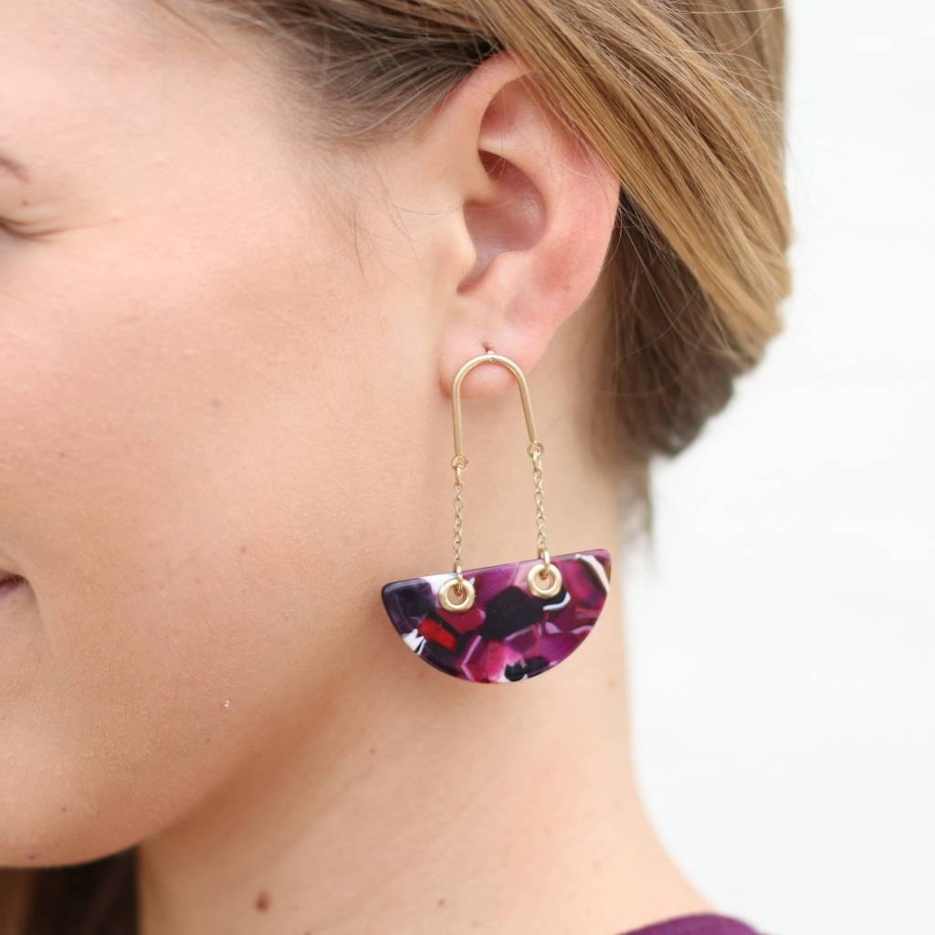 Punchy's Tortoise Boat Earrings PURPLE