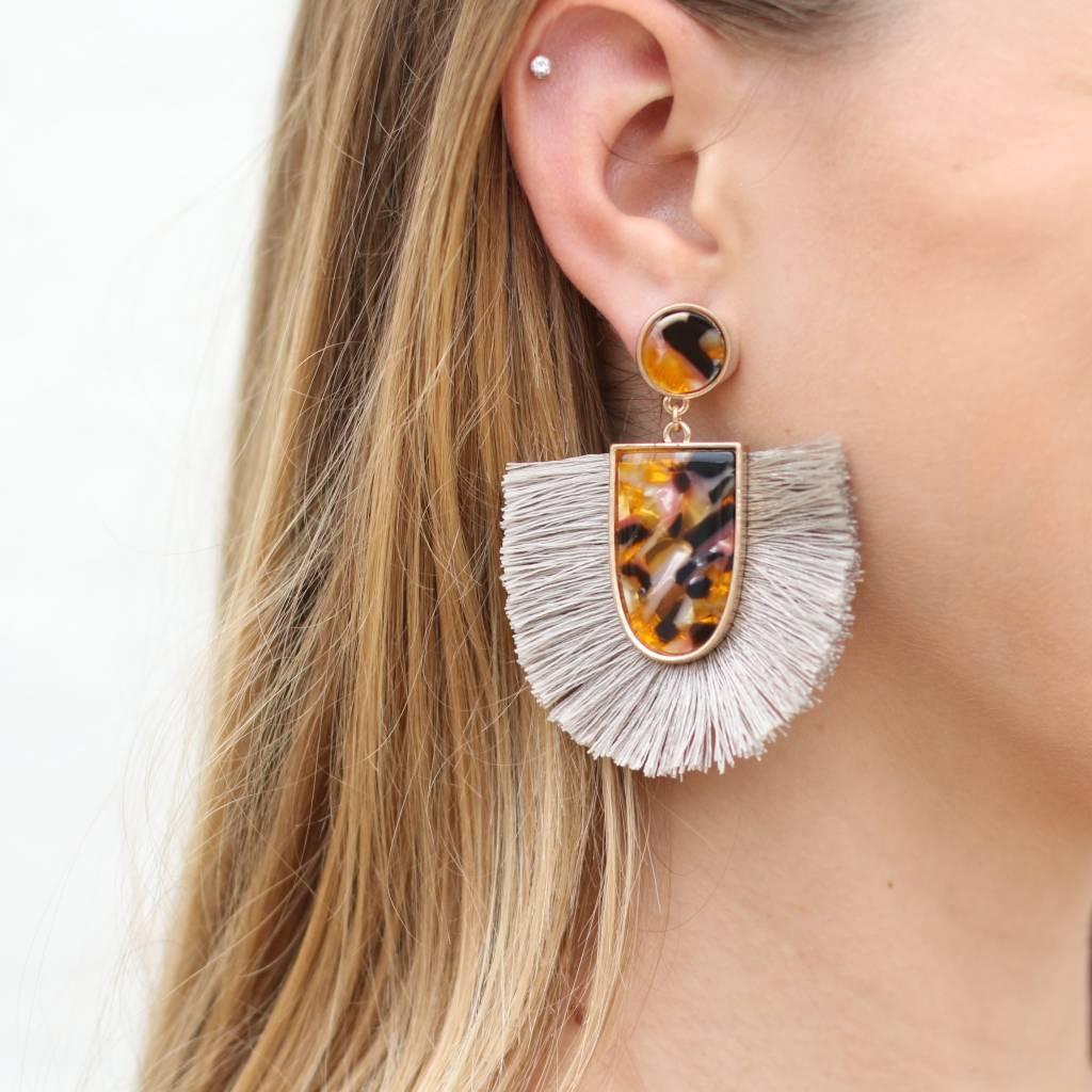 Tortoise Fringe Earrings GREY