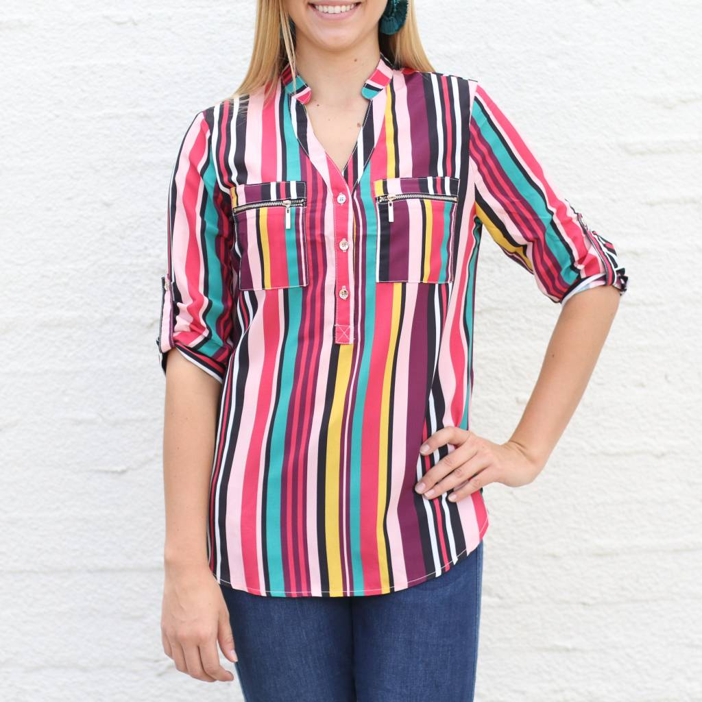 Multi Stripe 3/4 Sleeve Blouse