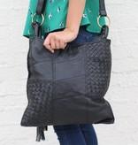 Punchy's Black Leather Weave Shoulder Bag