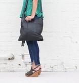 Black Leather Weave Shoulder Bag