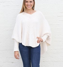 Cream Pullover V Neck Poncho Chenille Sweater