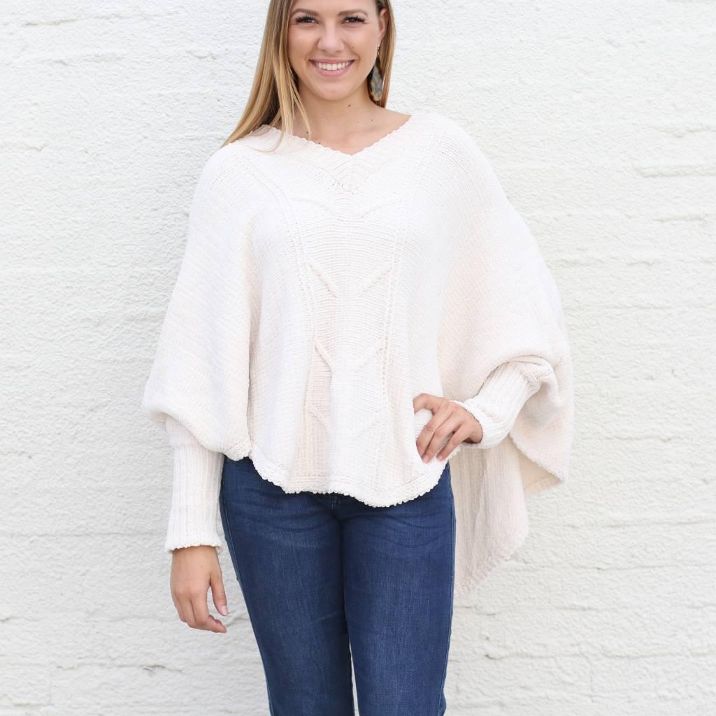 Cream Pullover V Neck Poncho Chenille Sweater