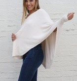 Punchy's Cream Pullover V Neck Poncho Chenille Sweater