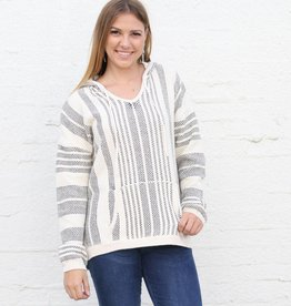 Ruidoso White and Black Hoodie Pullover