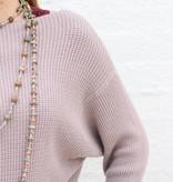 Punchy's Mauve Waffle Knit Slouchy Boat Neck Sweater