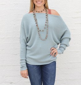 Mint Waffle Knit Slouchy Boat Neck Sweater