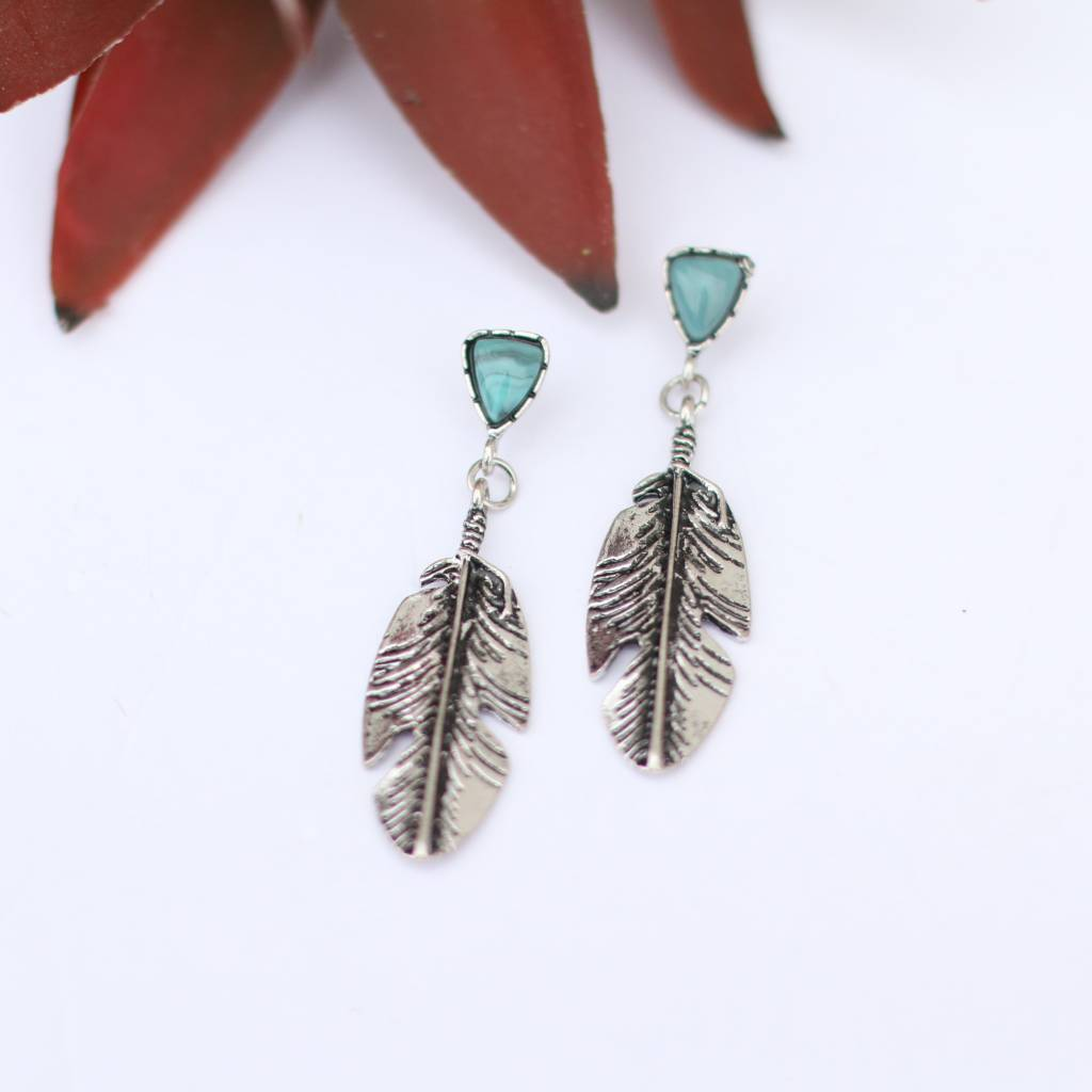 Silver Feather Earring with TQ Stone