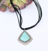 5 Strand Black Leather Necklace Large Turquoise Stone Pendant