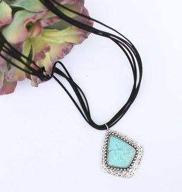 5 Strand Black Leather Necklace Large Turquoise Stone Pendant