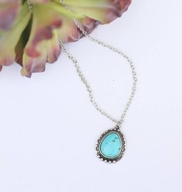 Punchy's Round Turquoise Stone Silver Chain