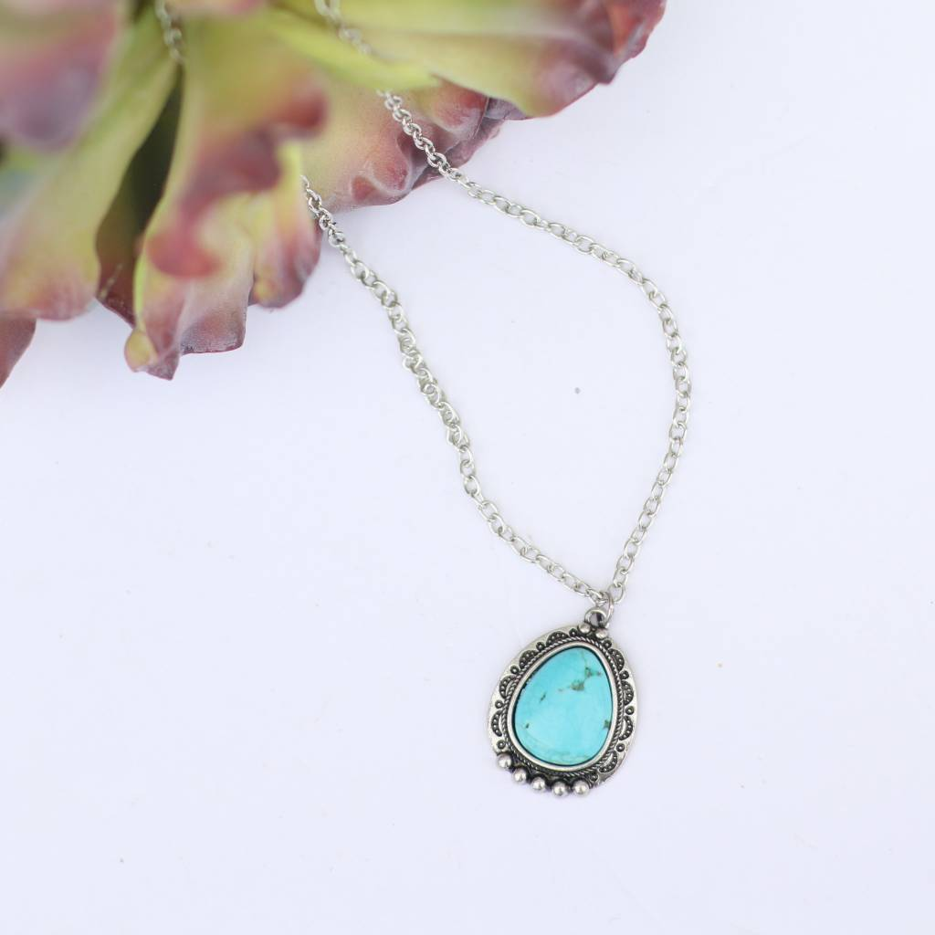 Round Turquoise Stone Silver Chain