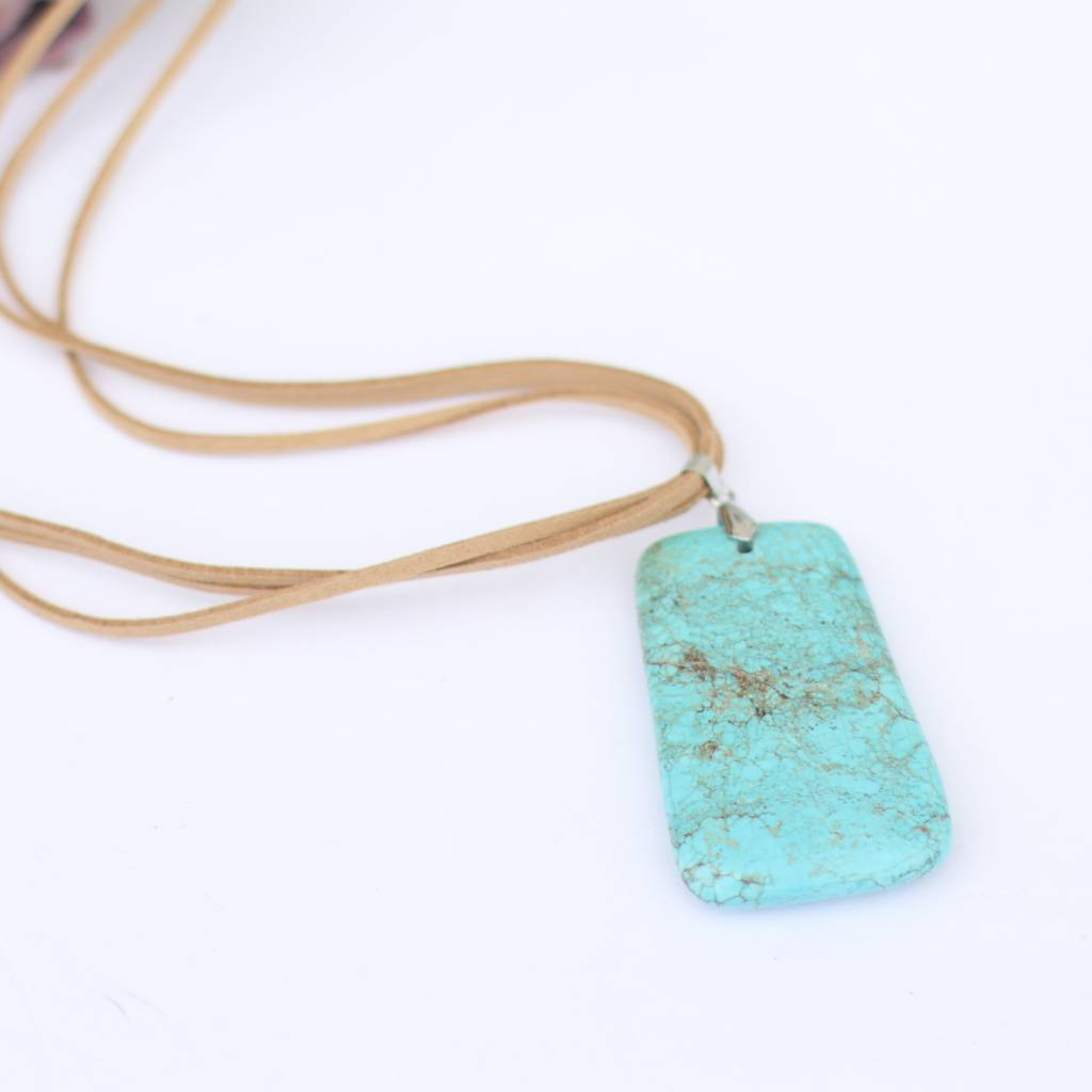 Tan Triple Leather Turquoise Stone Necklace