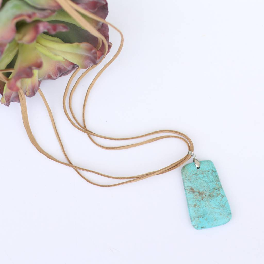 Punchy's Tan Triple Leather Turquoise Stone Necklace