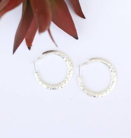 Burnished Silver Hammered Hoop Earring