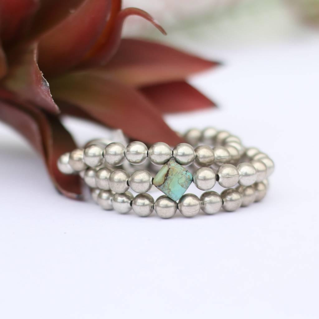 3 Strand Burnished Silver Bracelet Diamond Turquoise Bead