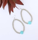 Burnished Silver teardrop Diamond Turquoise Bead Earring