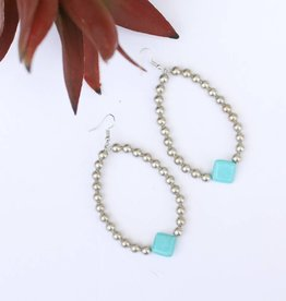 Burnished Silver teardrop Diamond Turquoise Bead Earring