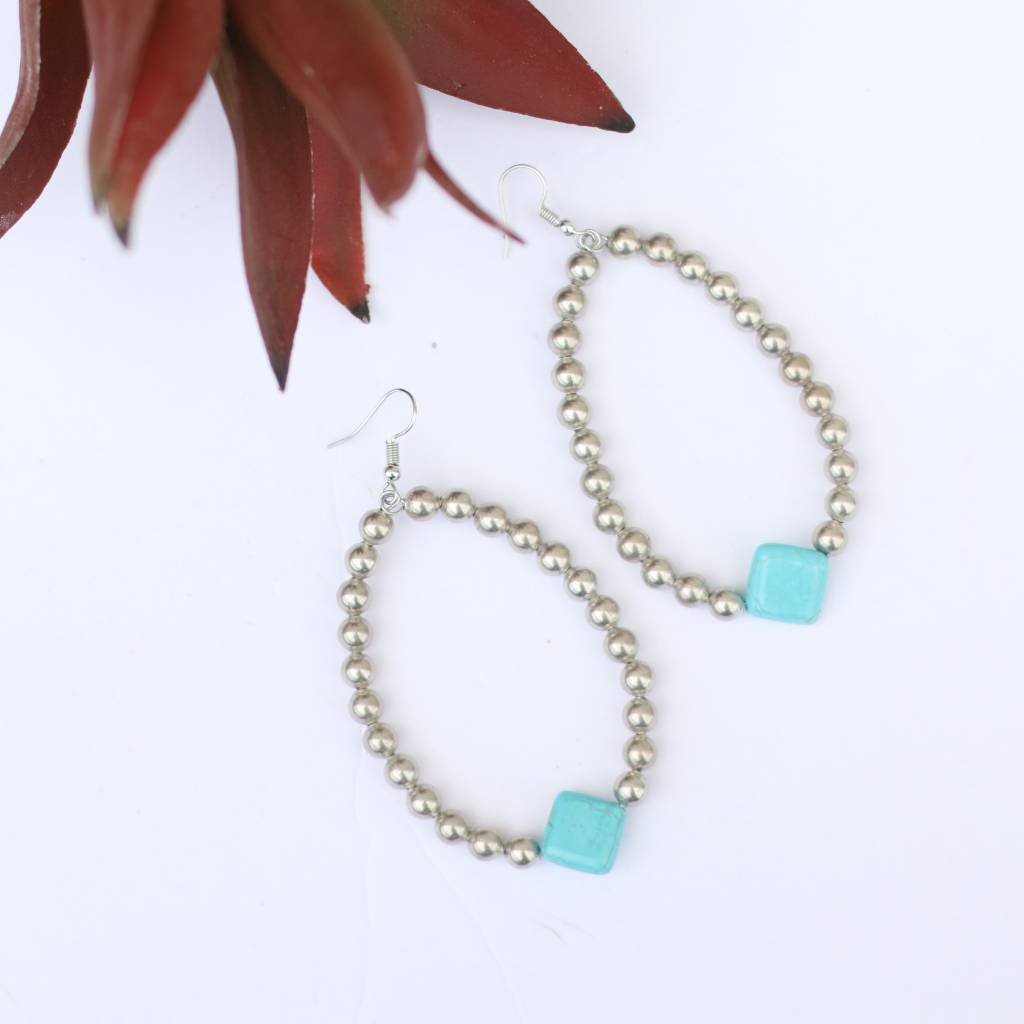 Punchy's Burnished Silver teardrop Diamond Turquoise Bead Earring