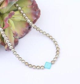 "16"" Burnished Silver Necklace Diamond Stone"