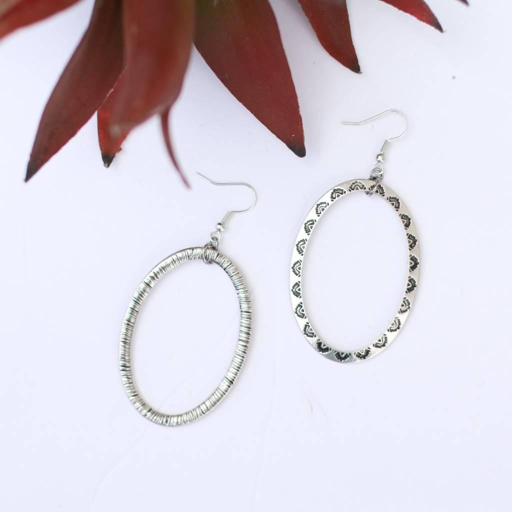Tribal Design Silver Hoop