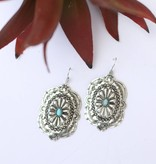 Burnished Silver Concho Turquoise Stone Earring