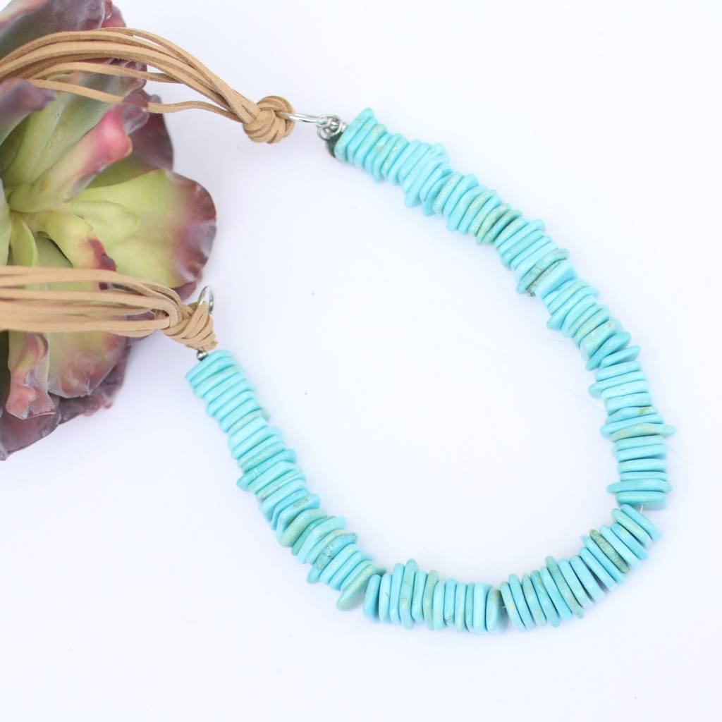 8 Strand Tan Leather With Turquoise Bead