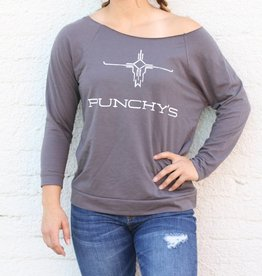 PUNCHY'S Charcoal 3/4 Sleeve Sweat Shirt