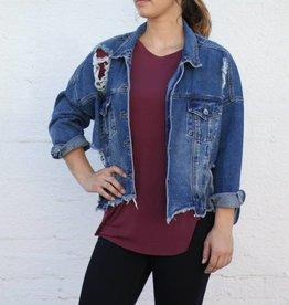 Distressed Over Sized Denim Jacket
