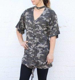 Camo Chocker Button Down Dress Tunic