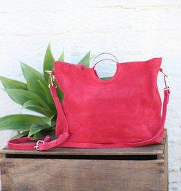 Punchy's Go For the Gold Suede Deep Raspberry Handbag