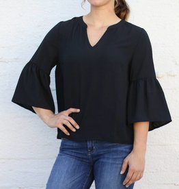 Punchy's Black V Neck Bell Sleeve Blouse