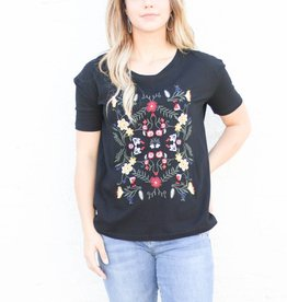 Black Embroidered T Shirt