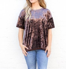 Punchy's Brown Oversized Velvet Basic Blouse