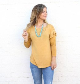 Mustard Mineral Washed Ruffle Long Sleeve Basic Top