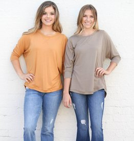 Olive 3/4 Sleeve Basic Slouchy Top