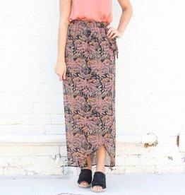 Printed Wrap Maxi Skirt