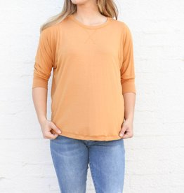Pumpkin 3/4 Sleeve Basic Slouchy Top