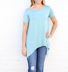 Seamfoam Pointed Hem T Back Basic Top