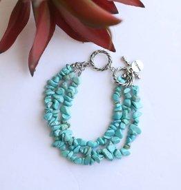 Punchy's 3 Strand Silver Turquoise Stone Bracelet