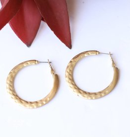 Punchy's Burnished Gold Hammered Hoop Earring