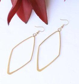 Punchy's Burnished Gold Large Diamond Shaped Earring